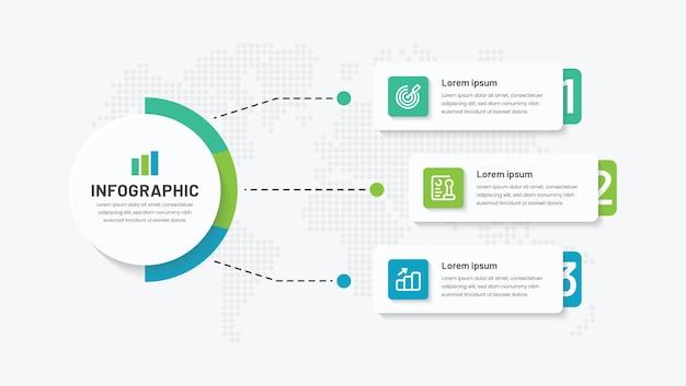 Projeto criativo do infográfico em 3 etapas