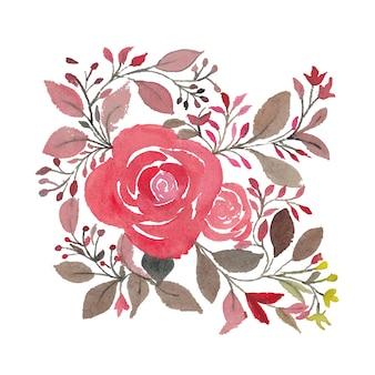 Projeto criativo e colorido de flores florais em aquarela para design de cartão de convite e celebração