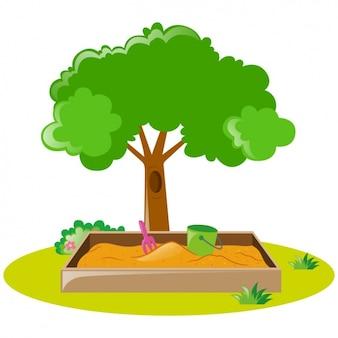 Projeto da árvore e caixa de areia