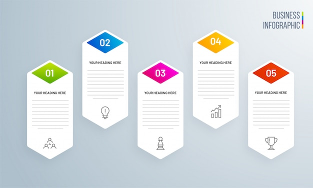 Projeto da bandeira com elementos inographic coloridos de 5 níveis.