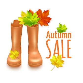 Projeto da bandeira de venda com folhas de outono e botas de borracha.