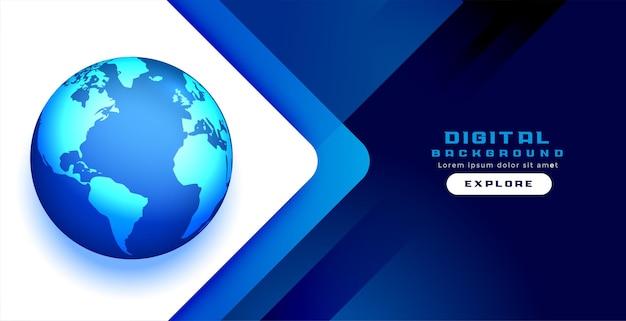 Projeto da bandeira do conceito do mundo azul digital