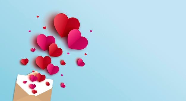 Projeto da bandeira do dia dos namorados de envelope e corações
