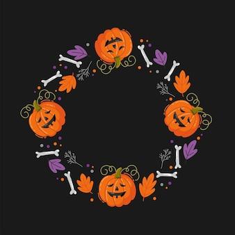 Projeto da bandeira do feriado de halloween com milho doce e abóbora. ilustração vetorial