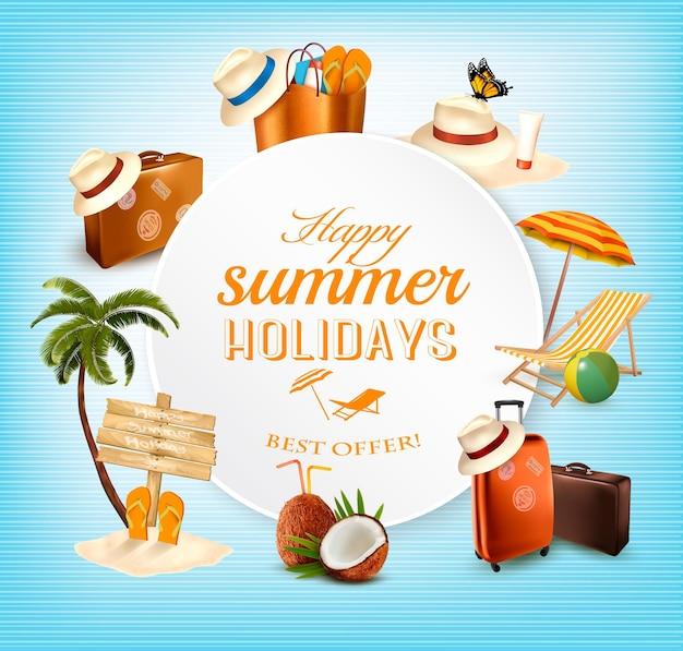 Projeto da bandeira do vetor do verão com ícones relacionados com as férias. vetor.