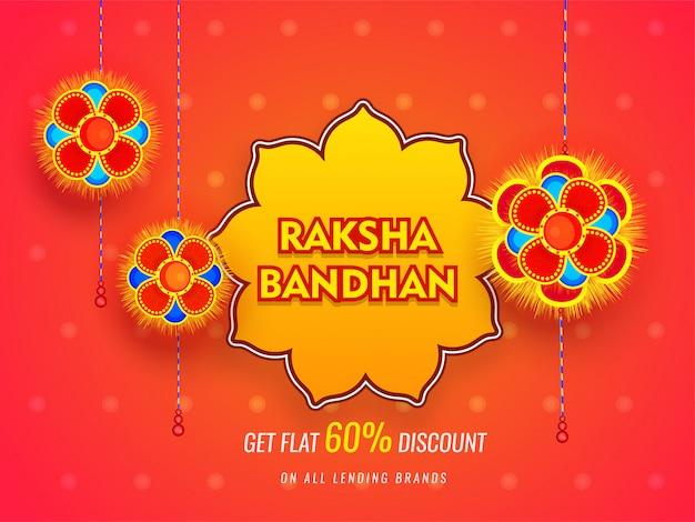 Projeto da bandeira ou do cartaz da venda de raksha bandhan com oferta de 60% de disconto no fundo alaranjado lustroso.