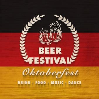 Projeto da bandeira ou do cartaz do festival da cerveja do estilo do vintage.