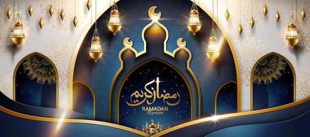 Projeto da bandeira ramadan kareem com lanternas penduradas e mesquita em arco. que o ramadã seja generoso com você, feliz feriado escrito em caligrafia árabe