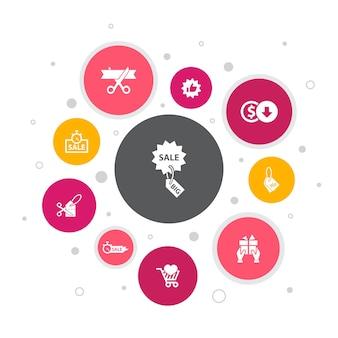Projeto da bolha de 10 etapas de infográfico de grande venda. desconto, compras, oferta especial, ícones simples de melhor escolha