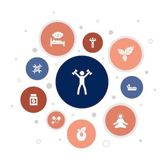 Projeto da bolha de 10 etapas do biohacking infographic. alimentos orgânicos, sono saudável, meditação, drogas ícones simples
