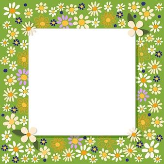Projeto da borda da moldura com lindas flores de margarida e camomila. ilustração em vetor desenhada à mão