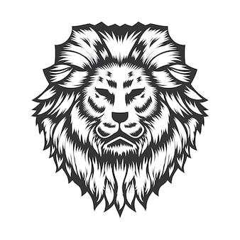 Projeto da cabeça de leão em fundo branco. logotipos do lion head line art. ilustração vetorial.