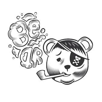 Projeto da cabeça do urso pirata em fundo branco. ilustração vetorial.