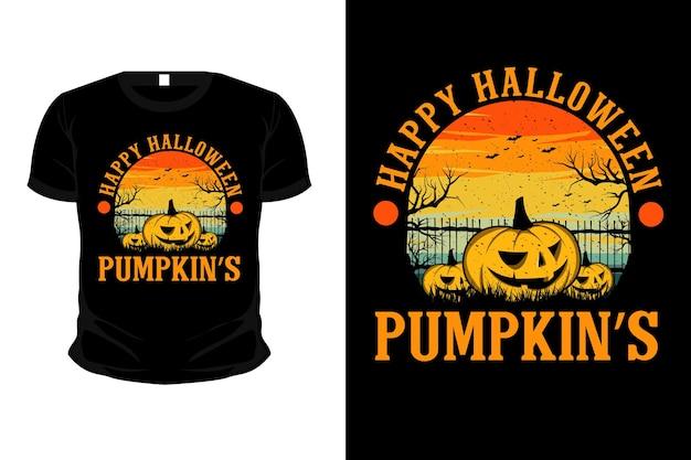 Projeto da camisa da maquete da ilustração da mercadoria da abóbora feliz do dia das bruxas