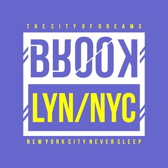 Projeto da camisa da tipografia de brooklyn nyc