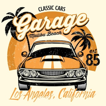Projeto da camisa de praia do muscle car americano clássico