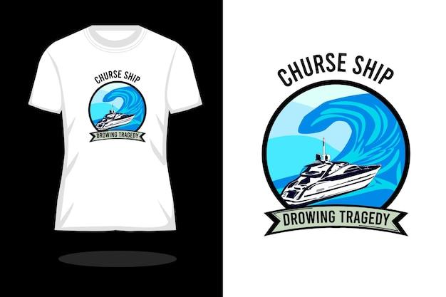 Projeto da camisa retro da silhueta do navio amaldiçoado afogando a tragédia