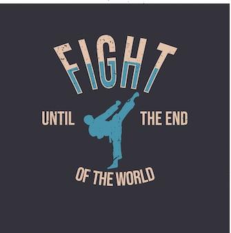 Projeto da camiseta com a silhueta do homem fazendo seu chute de caratê arte marcial ilustração simples