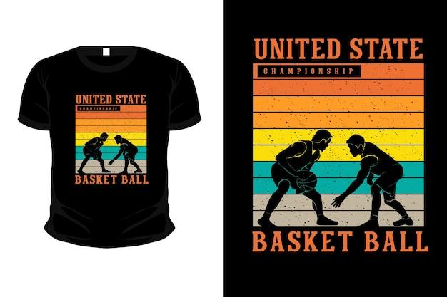 Projeto da camiseta da maquete da silhueta da mercadoria da bola de basquete do campeonato
