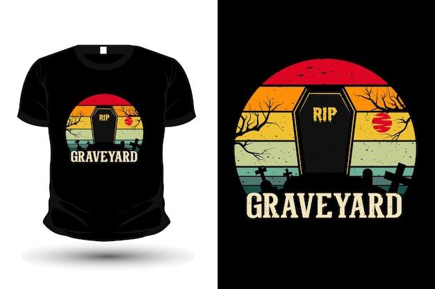 Projeto da camiseta da maquete da silhueta da mercadoria do cemitério