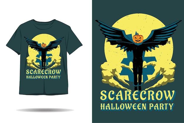 Projeto da camiseta da silhueta da festa do dia das bruxas do espantalho