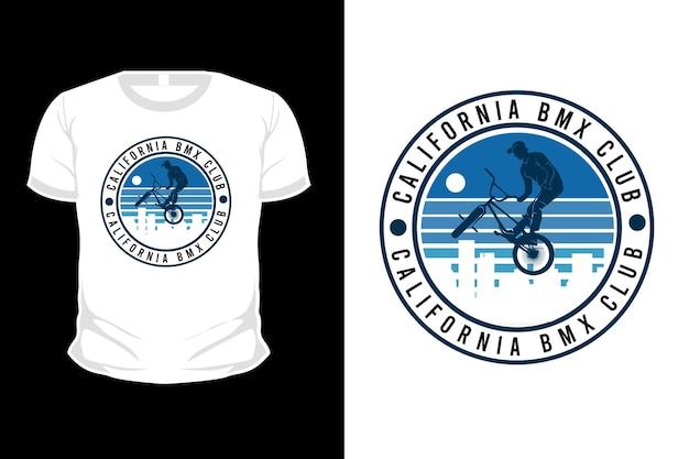Projeto da camiseta da silhueta da mercadoria do clube de motocross de bicicleta da califórnia