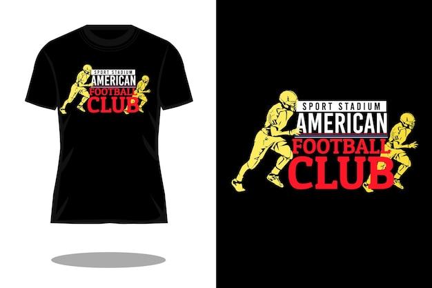 Projeto da camiseta da silhueta da tipografia americana do estádio esportivo