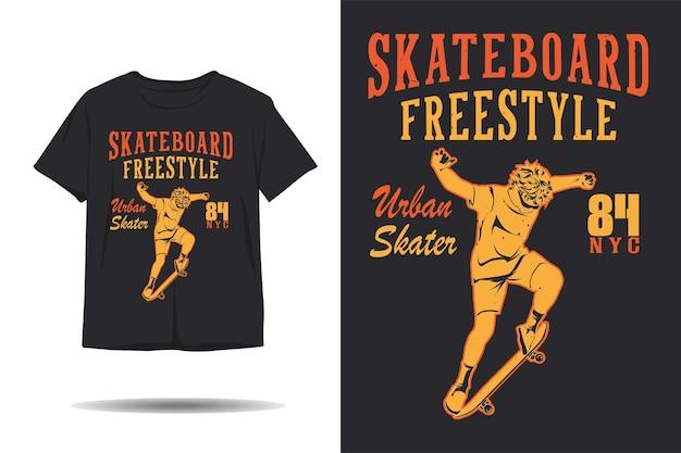 Projeto da camiseta da silhueta do patinador urbano de estilo livre de skate