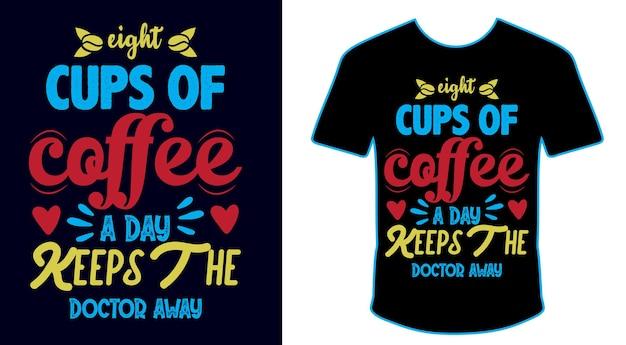 Projeto da camiseta do pacote de citações do café