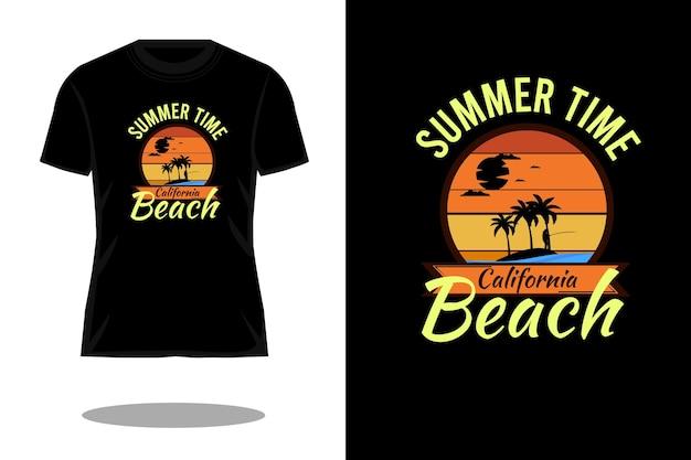 Projeto da camiseta retro da silhueta da praia da califórnia para o verão