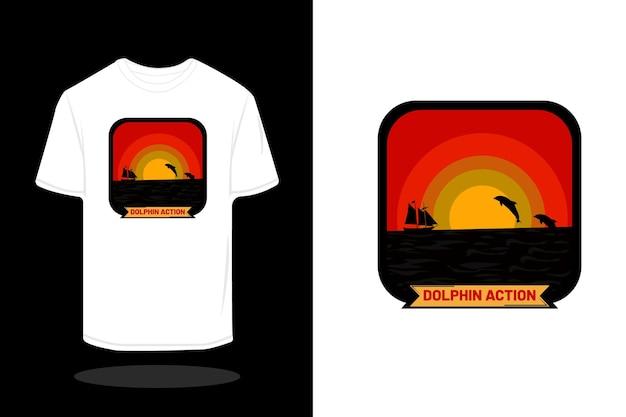 Projeto da camiseta retrô da silhueta de ação do golfinho