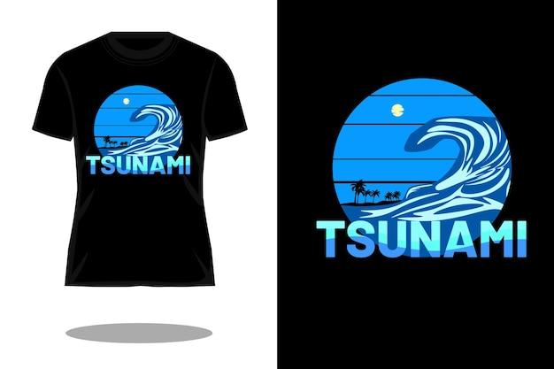Projeto da camiseta retrô da silhueta do tsunami