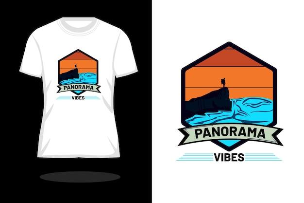 Projeto da camiseta retrô da silhueta vibes do panorama
