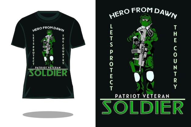 Projeto da camiseta retrô do soldado patriota veterano