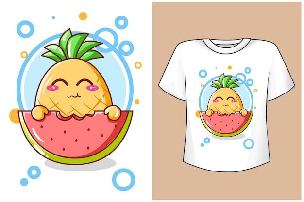 Projeto da camiseta simulada de abacaxi fofo com ilustração de desenho animado de melancia