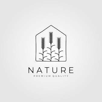 Projeto da casa do logotipo da planta de trigo da natureza