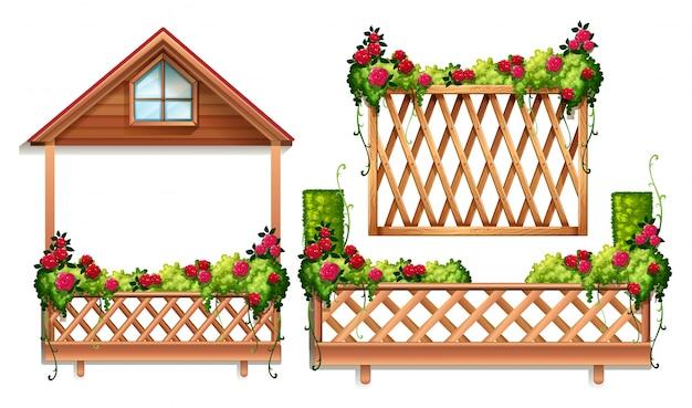 Projeto da cerca com rosas e arbusto