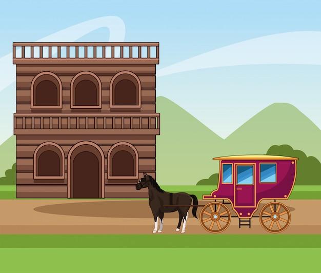 Projeto da cidade ocidental com carruagem clássica de cavalos e edifício de madeira