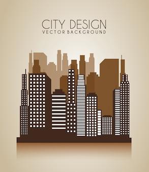 Projeto da cidade sobre ilustração vetorial de fundo marrom