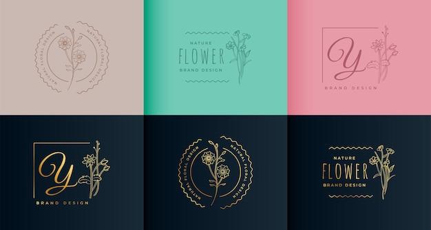 Projeto da coleção do logotipo da flor do monograma bonito