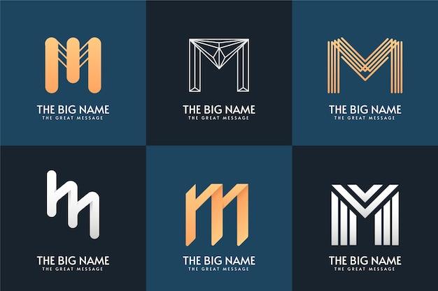 Projeto da coleção do logotipo da letra m
