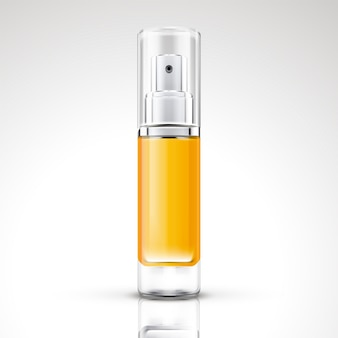Projeto da embalagem do frasco de spray amarelo cromado em ilustração 3d