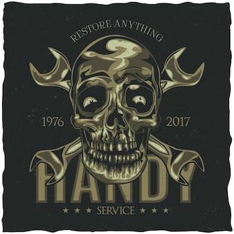 Projeto da etiqueta da camiseta com ilustração do crânio do mecânico