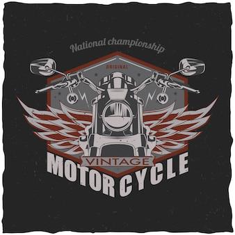 Projeto da etiqueta da camiseta da motocicleta com ilustração da motocicleta clássica
