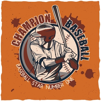 Projeto da etiqueta de beisebol.