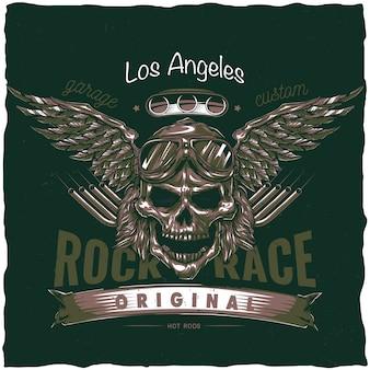 Projeto da etiqueta do t-shirt do hot rod vintage com ilustração do crânio do motorista com óculos e asas. mão ilustrações desenhadas.