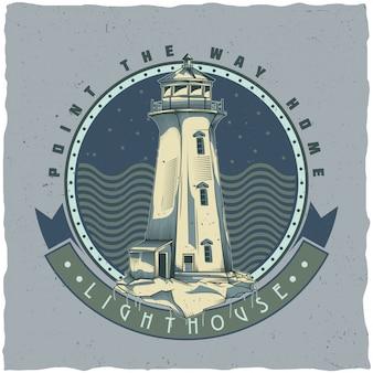 Projeto da etiqueta do t-shirt náutico com ilustração do antigo farol. mão ilustrações desenhadas.