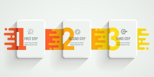 Projeto da etiqueta infográfico com ícones e 3 opções ou etapas. infográficos para o conceito de negócio.
