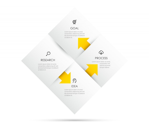 Projeto da etiqueta infográfico com ícones e 4 opções ou etapas. infográficos para o conceito de negócio.
