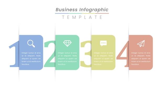 Projeto da etiqueta infográfico com ícones e 4 opções ou etapas.